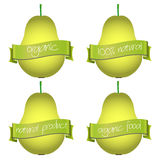 Sweet pears with organic and natural banners eps10 Royalty Free Stock Photo