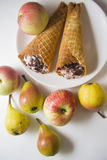 Sweet pears and waffers Royalty Free Stock Image