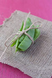Sweet peas on hessian Stock Photo