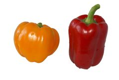 Sweet pepper. Sweet pepper, red yellow, on a white background Stock Photo
