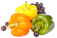 Sweet pepper and grapes Stock Images