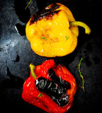 Sweet pepper a grill on a baking sheet Royalty Free Stock Photos