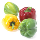 Sweet pepper isolated. Four fresh sweet pepper isolated on white background Stock Photos