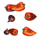 Sweet pepper with red onion 2 Stock Images
