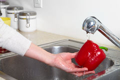 Sweet pepper in the sink Royalty Free Stock Photography