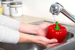 Sweet pepper in the sink Royalty Free Stock Photos