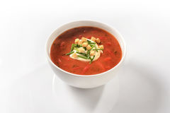 Sweet pepper soup with peppers and sour cream Stock Photography