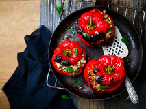 The sweet pepper stuffed with lamb and pearl barley Royalty Free Stock Photos
