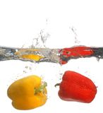 Sweet pepper in water. Two Sweet pepper in water Royalty Free Stock Images