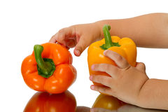 Sweet peppers and child Royalty Free Stock Photo