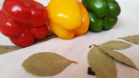 Sweet pepper of different colors and Bay leafs. Sweet peppers of different colors and Bay leaves lie on linen fabric stock photo