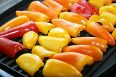 Sweet Peppers on Grill Stock Images