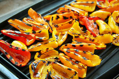 Sweet Peppers on Grill royalty free stock photos