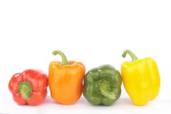 Sweet peppers isolated on white background. Sweet peppers  closeup isolated on white background Royalty Free Stock Images