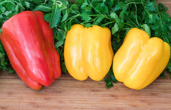 Sweet peppers, parsley and mint. Stock Photo