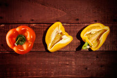Sweet peppers top view Royalty Free Stock Photos
