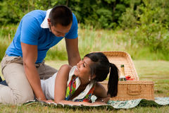 Sweet picnic couple Stock Images
