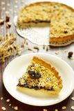 Sweet pie with oat-flakes and blueberry Stock Photo