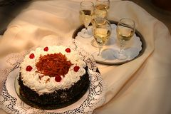 Chocolate Cake and Wine Royalty Free Stock Photos