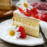 Sweet piece of cake on a plate Royalty Free Stock Images
