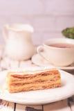 Sweet piece of Napoleon cake Stock Photos
