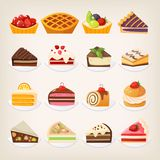 Sweet pies and cakes desserts. Set of colorful pies and cakes and other sweet desserts on plates. Isolated vector illustrations Royalty Free Stock Photos