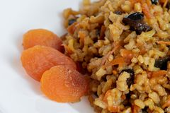 Sweet pilaf with dry fruits stock photography