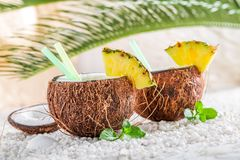 Sweet pinacolada in coconut Royalty Free Stock Photo
