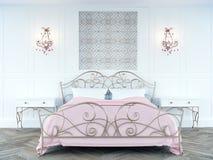 Sweet blush pink color feminine bedroom vector illustration