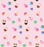 Sweet pink cupcake seamless pattern. Background Stock Photo