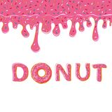Sweet pink donut and glaze  on white background. Vector Royalty Free Stock Image