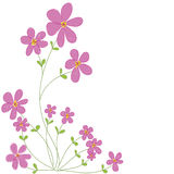 Sweet pink doodle flowers with white space background isolated v Royalty Free Stock Images