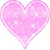 Sweet pink heart with stars on white background Royalty Free Stock Image