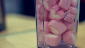 Sweet Pink Marshmallow Candy In Jar stock photo