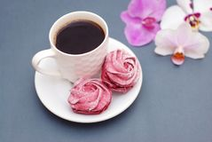 Sweet Pink Meringues and Cup of coffee on Blue Gray background with Orchid Flowers. spring Background. royalty free stock photography