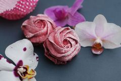 Sweet Pink Meringues and Cuup of Coffee on Blue Gray background with Orchid Flowers. Spring Background with copy space. Breakfast. royalty free stock photos
