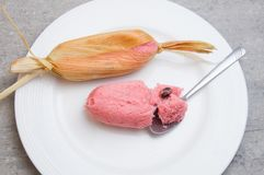 Sweet pink Mexican tamales filed corn dough, food in Mexico royalty free stock photos
