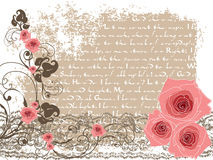 Sweet pink roses and vintage poem royalty free illustration