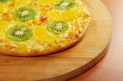 Sweet pizza with fruit Stock Photo