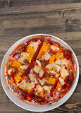 Sweet pizza with fruits Stock Photos