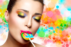 Sweet Pleasure. Colorful Makeup Royalty Free Stock Photo