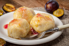 Sweet plum dumplings. Stock Photography