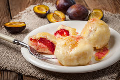 Sweet plum dumplings. Royalty Free Stock Photo