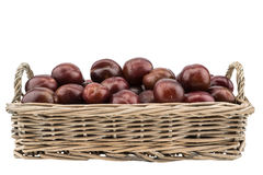 Sweet Plums in the wicker basket isolated on white background. Selective focus Stock Image