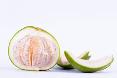 Sweet pomelos  peeled on white background healthy fruit food isolated Royalty Free Stock Photography