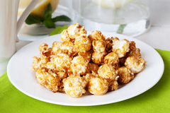 Sweet popcorn food on the table in still life tea party dessert Royalty Free Stock Image