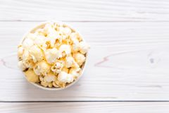 sweet popcorn on wood Royalty Free Stock Photo