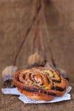 Sweet poppy buns old sack art background Stock Image