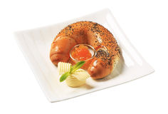 Sweet poppy seed roll with marmalade Stock Photo