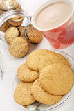 Sweet poppy seed shortbread biscuits with jam Stock Photography